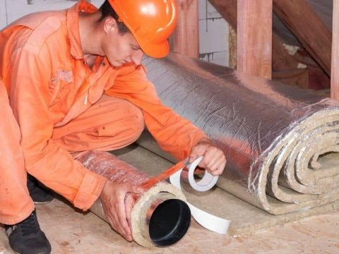 Fiberglass insulation can be installed around ductwork by a professional if you are not comfortable with the process yourself.