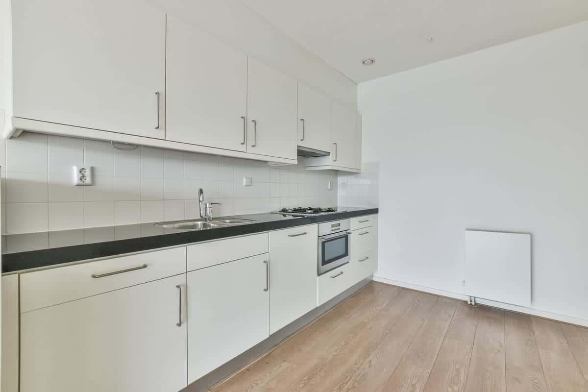 Laminate flooring kitchen needing island install.